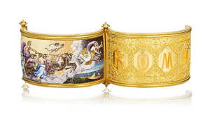A gold and micromosaic hinged bangle, circa 1870 1