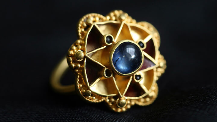 A unique gold and sapphire finger ring, found by a metal detectorist and just purchased by the Yorkshire Museum, almost certainly belonged to Anglo-Saxon or Viking royalty, very senior clergy or a leading member of the Anglo-Saxon aristocracy, say historians