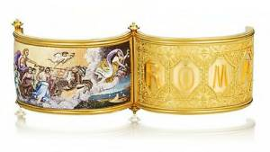 A gold and micromosaic hinged bangle, circa 1870