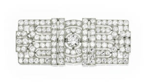 Sothebys Art Deco Platinum Diamond Brooch