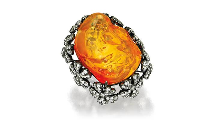 18 Karat Blackened Gold, Fire Opal and Diamond Ring