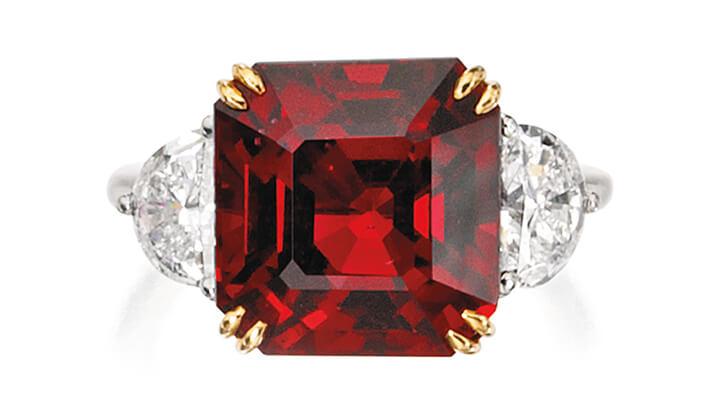 Platinum, 18 Karat Gold, Spinel and Diamond Ring