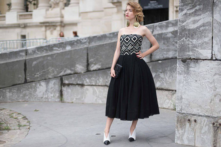 Paris Haute Couture Elegant Black and White Dress