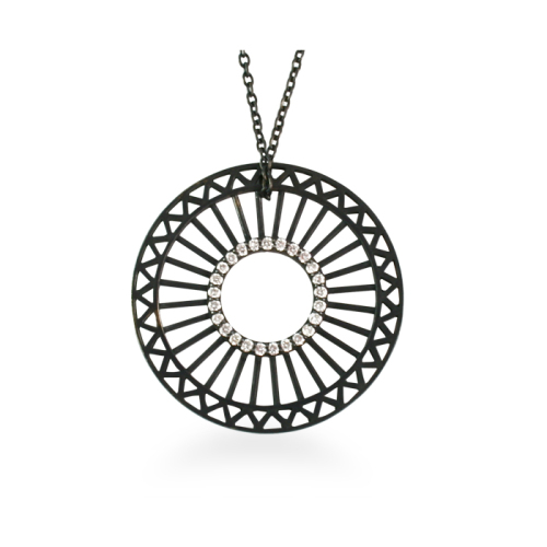 Large Theorem Pendant in Black Silver