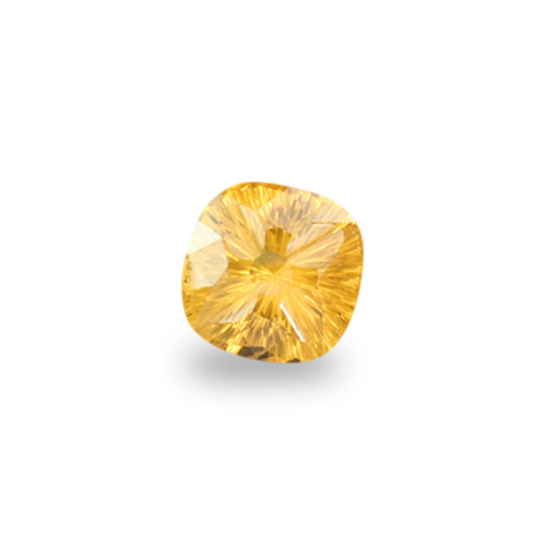 Square Cushion Shape, 'Concave stargazer' Cut Yellow Sapphire