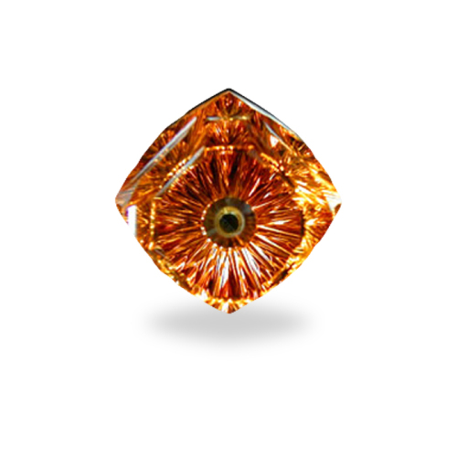 Square Cushion Shape, 'Phantum Spinner' Cut Citrine