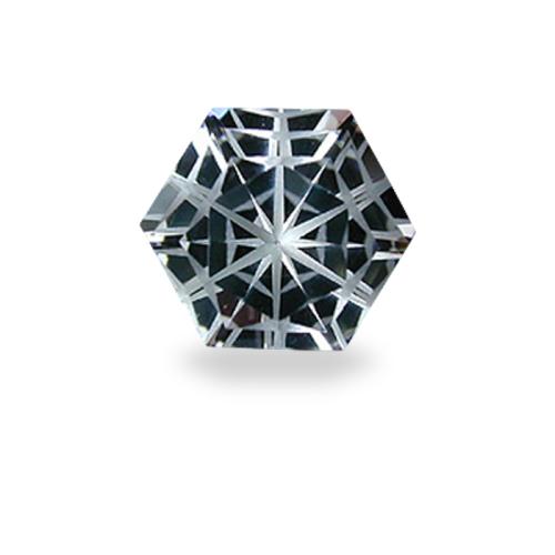 Hexagonal 'Satin Snowflake' Cut Silver Topaz