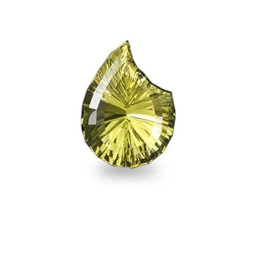 Paisley Pear Shape 'Concave Brilliant' Cut Oro Verde Quartz