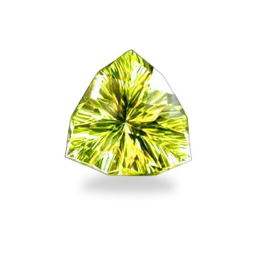 Triangle 'Checkerboard Concave Brilliant' Cut Oro Verde Quartz