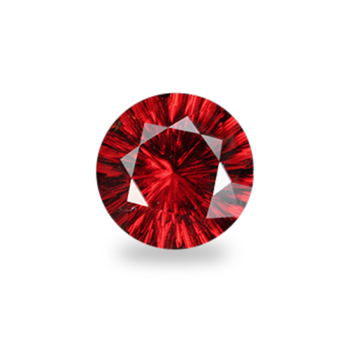 Round 'Concave Brilliant' Cut Hessonite Red Garnet