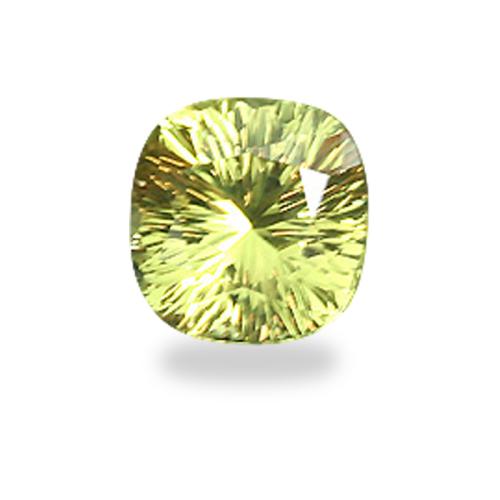 Square Cushion Shape, 'Concave Brilliant' Cut Chartreuse