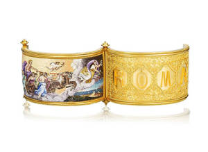 Bonhams A gold and micromosaic hinged bangle