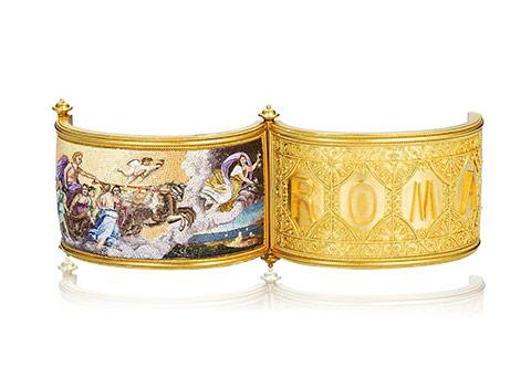 Bonhams A gold and micromosaic hinged bangle