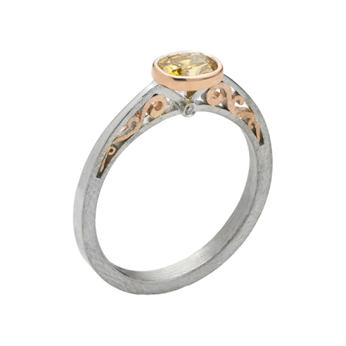White & Rose Gold Ring, 'Contour Collection'