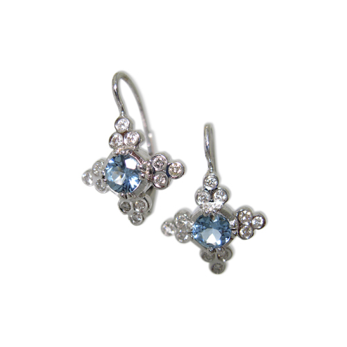 Scallop Cross Earrings with Aquamarines & Diamonds