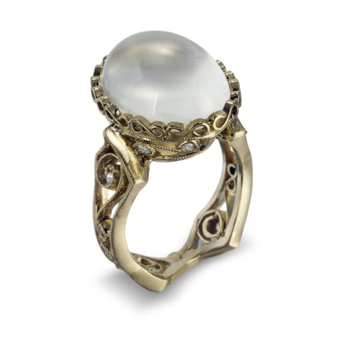 Narrow Hourglass Ring with Moonstone & Diamonds