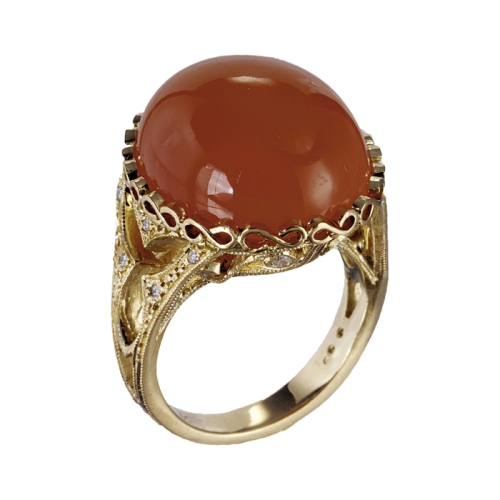 Orange Moonstone & Diamond Ring