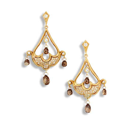 Chandelier Earrings with Diamond Briollettes