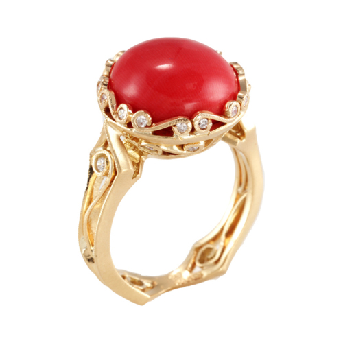 Narrow Hourglass Ring with Italian Coral & Diamonds