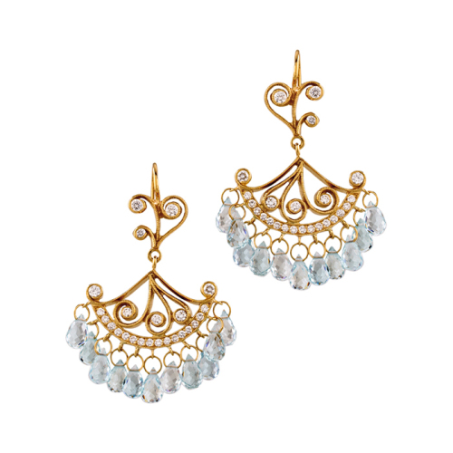 French Lace Chandeliers with Diamonds and Aquamarine Briollettes