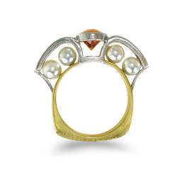 mirjam-butz-brown-25-ring-18k-yellow-gold-platinum-mandarine-garnet-diamonds-akoya-pearls