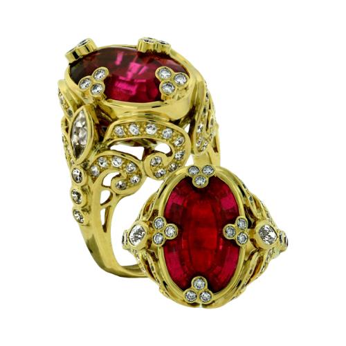 Tourmaline, Diamond and Zircon Ring
