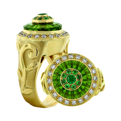 Carved Peridot, Emerald & Diamond Ring