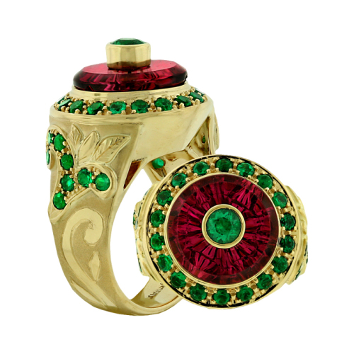 Carved Tourmaline & Emerald Ring