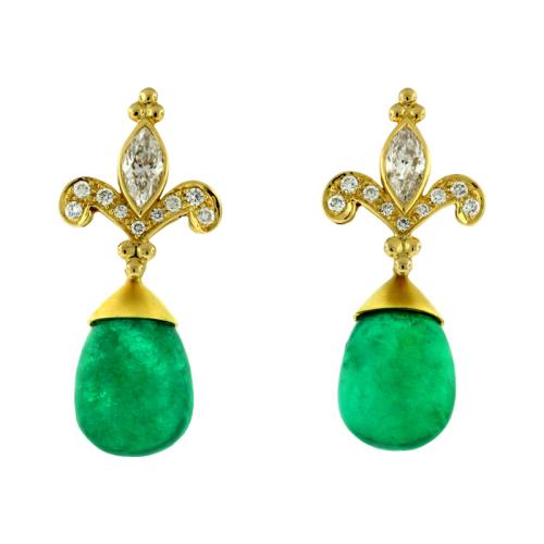 Diamond & Emerald Earrings