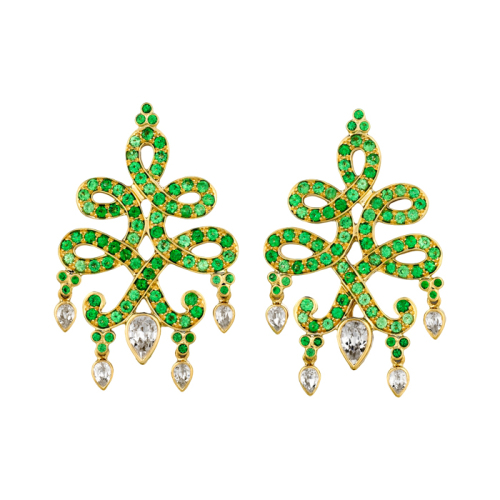 Gold, Zircon & Tsavorite Earrings