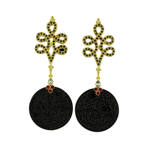 Black Diamond, Jade & Ruby Earrings