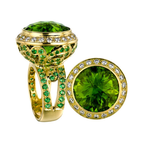 Peridot & Diamond Gold Ring