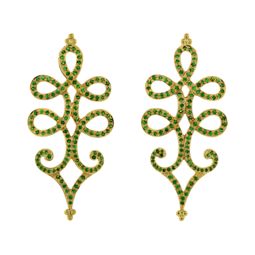 Gold Earrings with Tsavorite