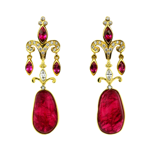 Rubellite Tourmaline & Diamond Earrings