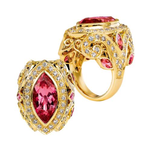 Tourmaline & Diamond Gold Ring