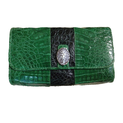 Caiman Crocodile Clutch Bag with Frog on Halyconia Cameo