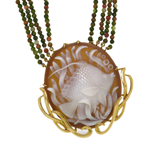 Angelfish with Grass Cameo Necklace