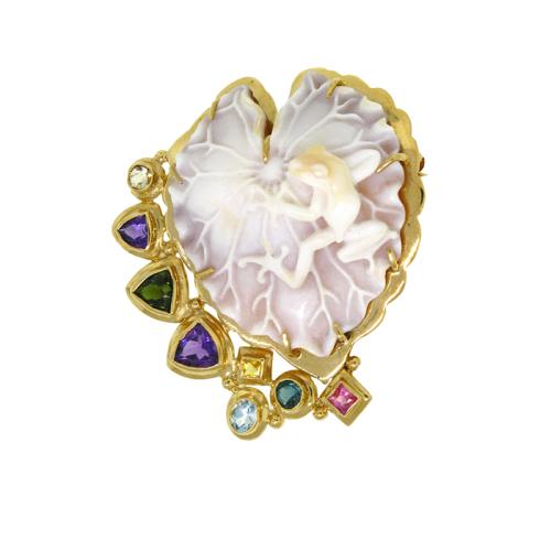 rainforest-designs-37-brooch-sardonyx-shell-cameo-18kt-yellow-gold-tourmaline-amethyst-aquamarine-sapphire