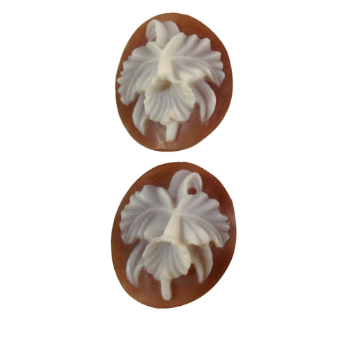 Oval Cattleya Dowiana Orchid Cameos