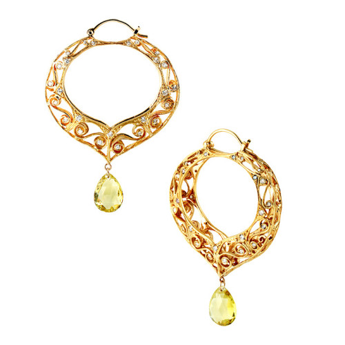 Large Scroll Hoops with Fine Golden Beryl Briollettes