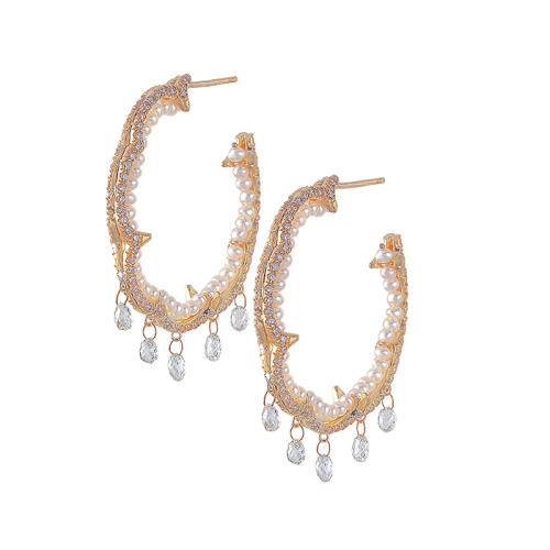 Scallop Thorn Hoops with Diamond Briollette Fringe
