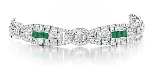 Art Deco Emerald and Diamond Bracelet by Cartier