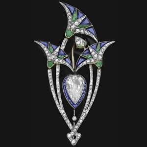 Boucheron Art Deco Lotus Brooch
