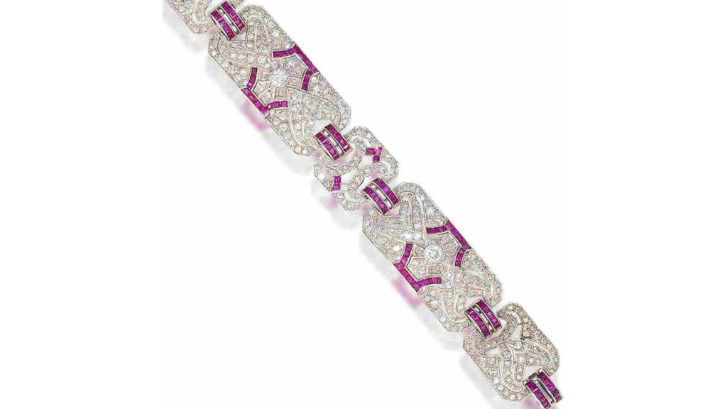 Bonhams Auction Art Deco Diamond and Ruby Bracelet