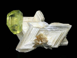 Mineral Collection brazilianite on muscovite