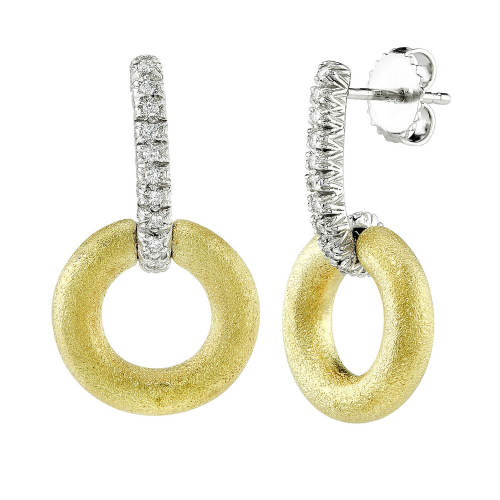 Large Hoop Diamond Bar Earrings