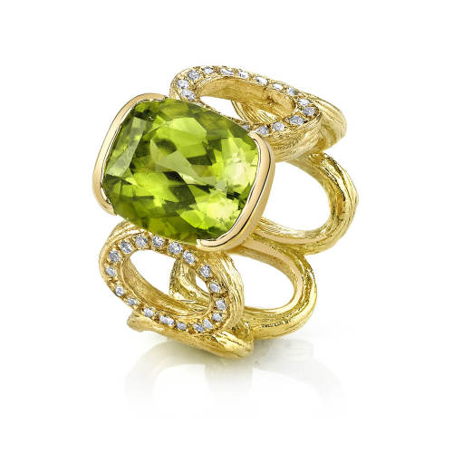Peridot Wide Open Link Ring