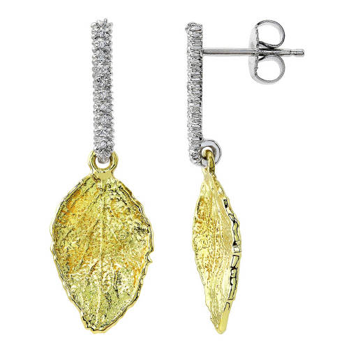 Aspen Leaf Earrings with Diamond Stems