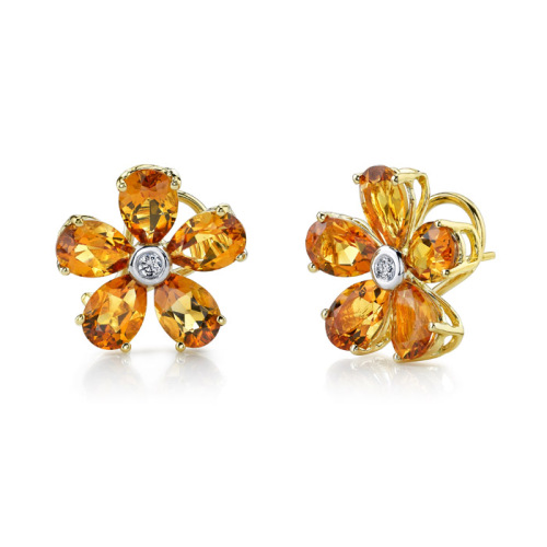 Citrine Flower Stud Earrings