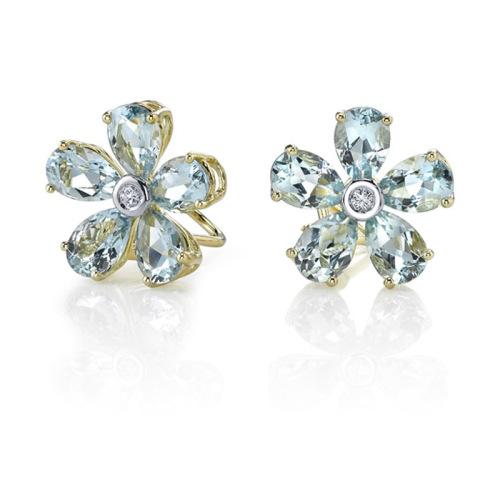 Aquamarine Flower Stud Earrings